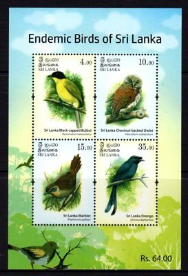 Sri Lanka 2017 Endemic Birds Sheetlet 4 MNH