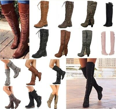 e2bdb109ba51 Women's Military Riding Boots Over Knee Thigh High Block Heel Lace Up Shoes  Boot