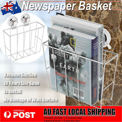 Stainless Steel Wire Magazine Basket Wall Mounted Post Storage Rack Suction Cup