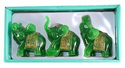 Feng Shui Set of 3 Green Jade Elephant Trunk Statues Wealth Figurine ~ US Seller