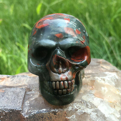 "2"" Natural Bloodstone crystal skull hand carved reiki healing 1pcs 95-120g"