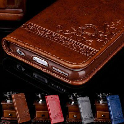 Genuine Leather Flip Wallet Phone Case Cover for iPhone 6 7 Plus Samsung Note DN