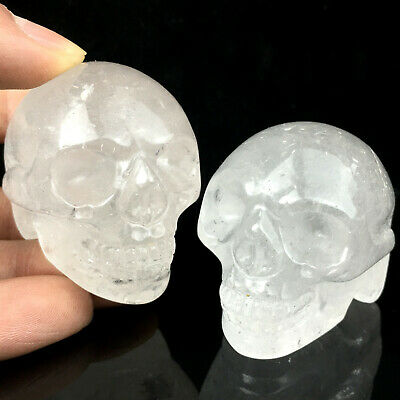 "2"" Clear Quartz Crystal Skull Hand Carved Reiki Healing 1pc 90-115g"