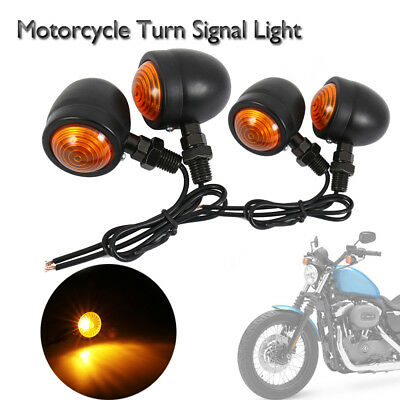 4x Retro Black Motorcycle Bulbs Turn Signal Blinker Lights Indicators Amber AU