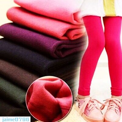Girls Warm Thick Fleece Leggings Stretchy Cotton Trousers Pants Kids 2-7Years