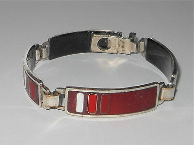 Armband Emaille rot Metall Perli