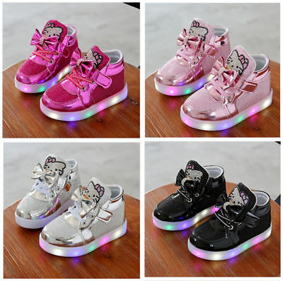 UK Light Up Shoes LED Flashing Trainers Casual Sneakers For Kids Boys Girls Baby