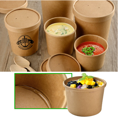 50X Disposable Coffee Milk Tea Cup Kraft Paper Cake Party Tableware Bowl Takeout