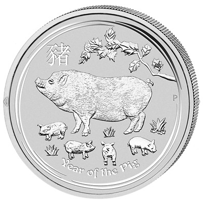 Lunar II Schwein Year of the Pig 2019 2 OZ Silber Silver Argent Australien