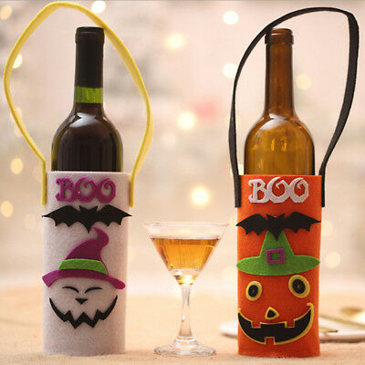 Funny Pumpkin Halloween Non-woven Wine Bottle Bag Cover With Handle Party Decor