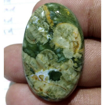38 Cts. Natural INCREDIBLE RAINFOREST RHYOLITE Oval Pendant Size Loose Gemstone