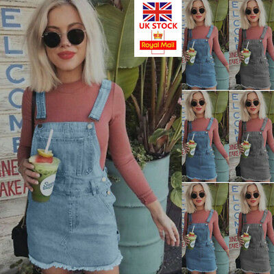UK Women Denim Jeans Overall Dungaree Mini Dress Ladies Casual Suspender Skirt