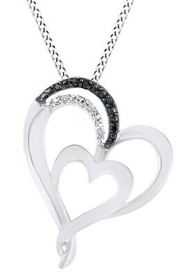 Round Black & White Natural Diamond Accent Double Heart Pendant Sterling Silver