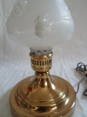 Vintage Antique Glass Frosted Globe with Embossed Pattern Heavy Brass Base
