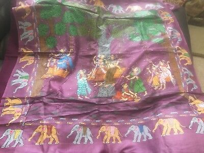 Indian Patachitra Saree - Hand crafted & painted 100% authentic Tussar Silk
