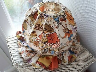 Adorable! Rare True Vintage Mop Cap Wind In The Willows Lampshade Lightshade 70s