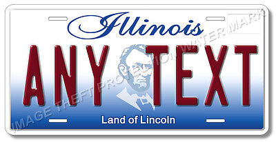 Illinois ANY TEXT License Plate Tag Car Pickup Truck Gift Mom Dad Aluminum New