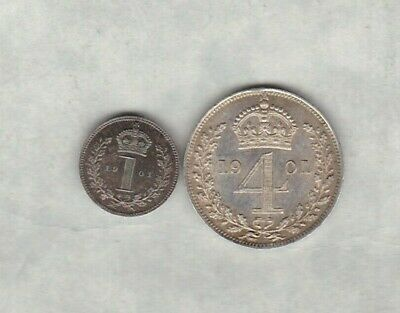 1901 Victoria Old Head Maundy Silver Four Pence In Extremely Fine Condition