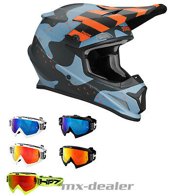 2019 Thor MX Sector Camo blau Helm Crosshelm  HP7 Brille BMX Motocross Quad