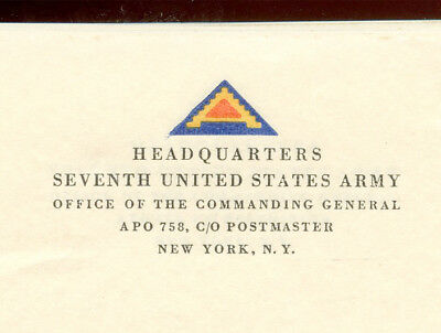 WWII WW2 7th Army APO 758 Stationary UNUSED General Patton Keyes ORIGINAL STOCK