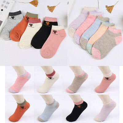 Women's Girls Ladies Trainer Liner Ankle Socks Pairs Pack Cotton Summer Footsies