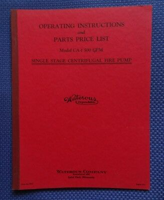 1944 WATEROUS Co. Fire Pump Operating Instructions Manual - Firefighting