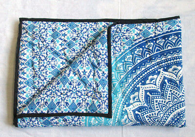 Reversible Baby Quilt Indian Ombre Mandala Handmade Stitching Blanket Cotton