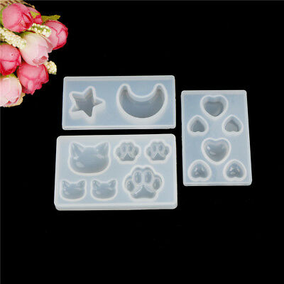 Resin Jewelry Mold Diy silicone crystal Cat face Cat's claw Moon Stars heart  Tn