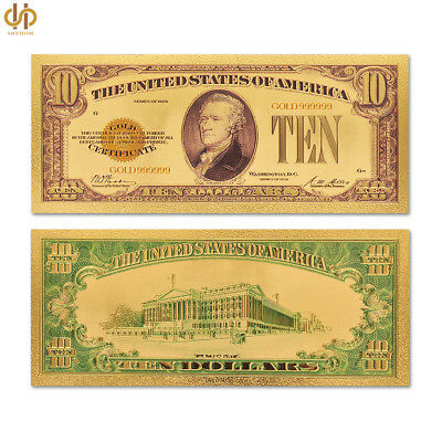 Colored Banknote $10 Dollar Plated Currency Bill Gold USA Dollar Banknote Note