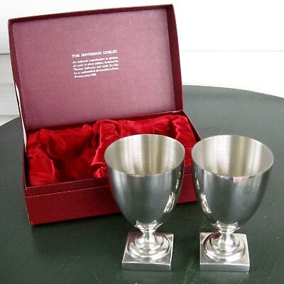 pair 2 shirley pewter jefferson goblets williamsburg virginia mint julep cup