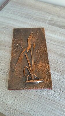 Vintage copper plaque with a bird, '50s, rare find! Social Realistic, hungarian