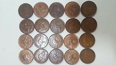 20 Nice Large Australian Pennies All Different Dates Or Mintmarks
