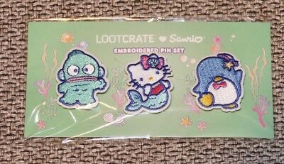 Sanrio Hello Sanrio Loot Crate Splash Collection Embroidered Patch Pin Set New
