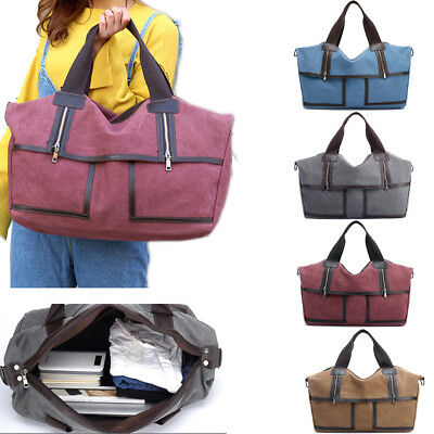 Retro Womens Mens Canvas Leather Shoulder Travel Military Satchel Bag Messenger