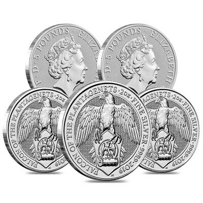 Lot of 5 - 2019 Great Britain 2 oz Silver Queen's Beasts (Falcon) Coin BU