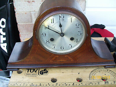 Rare Keinzle (German) Napoleon Hat Style oak with inlay Chiming Mantle Clock GWO