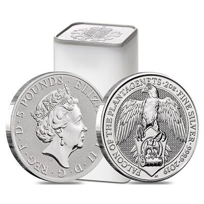 Roll of 10 - 2019 Great Britain 2 oz Silver Queen's Beasts (Falcon) Coin BU