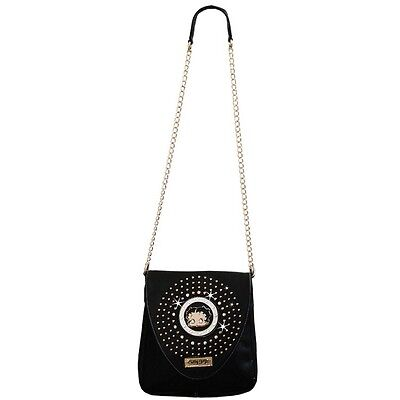 Betty Boop Rhinestone Slim Envelope Bag by Sharon Purse Handbag Black KF-4005