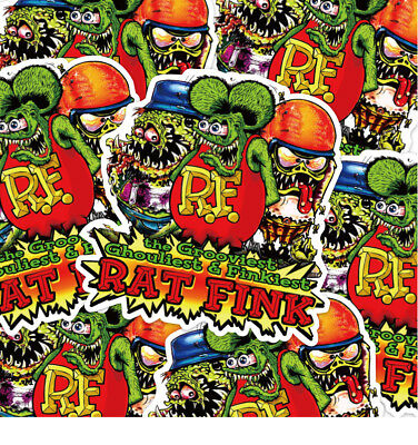 10PCS Rat Fink New Ed Roth Big Daddy Vinyl 10CM Laptop Travel Case Car Stickers