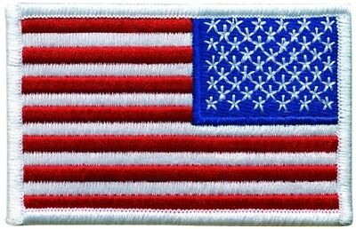 AMERICAN FLAG EMBROIDERED PATCH REVERSE WHITE BORDER VELCRO® BRAND Hook Side