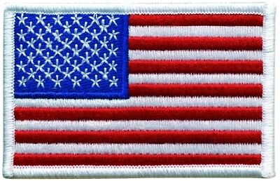AMERICAN FLAG EMBROIDERED PATCH WHITE BORDER VELCRO® BRAND Hook Side only