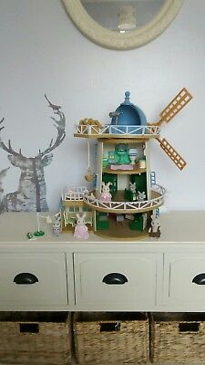 Sylvanian Families Complete Field View Windmill, Furnished, Figures Bundle