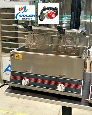 NEW 10 Gallon Double Deep Fryer Model FY3 Counter Top Commercial Gas Propane Use