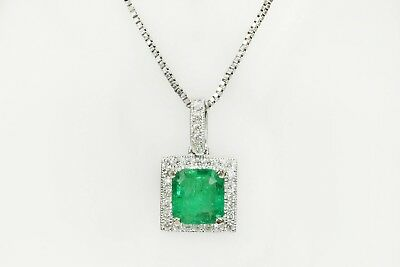 1.60 Cts Natural Emerald Princess Cut Diamond Halo Pendant & Necklace 14K