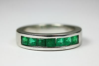 14K Heavy Men's Band Ring Channel Set Princess Cut Natural Emerald Gold 1.75 ct