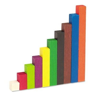 WOODEN CUISENAIRE RODS introductory set (74 rods)  maths muliplication division
