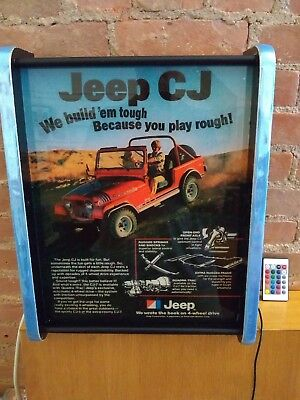 Reproduction LED Light Box Backlit Jeep CJ Advertising Sign: Free Shipping!