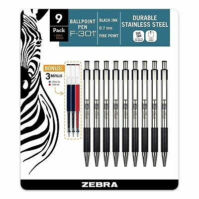 Zebra F-301 0.7mm Stainless Steel Black Pen, 9-Pack w/ 2 Blue & 1 Red Refills