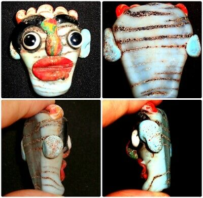 Old Phoenician Head Red Lip Big nose White Face Mosaic Glass Bead 447