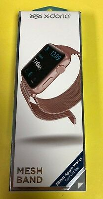 X-Doria Mesh Band for Apple Watch 38mm - Rose Gold - Stainless Steel - NEW
